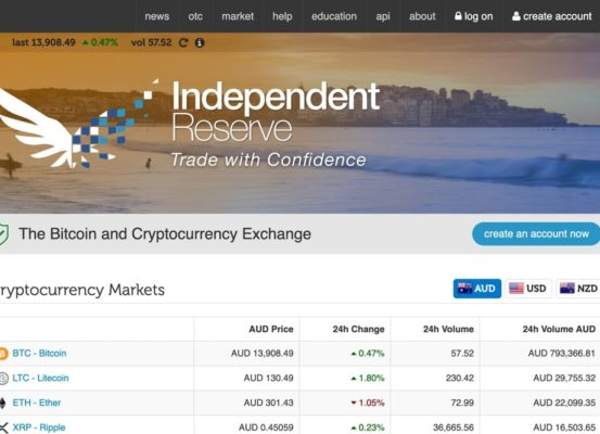 Independent Reserve homepage screenshot