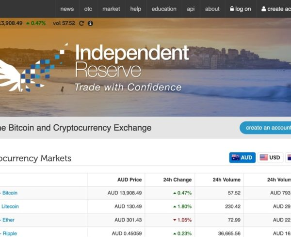 Independent Reserve homepage screenshot